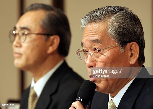 Hisashi Hieda Chairman and CEO of Fuji Television Network Inc Akinobu Kamebuchi of radio broadcaster Nippon Broadcasting System Incattend a joint...