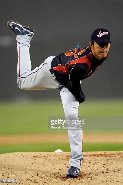 Hisashi Iwakuma of Japan pitches against Cuba during the 2009 World Baseball Classic Round 2 Pool 1 Game 5 on March 18 2009 at Petco Park in San...