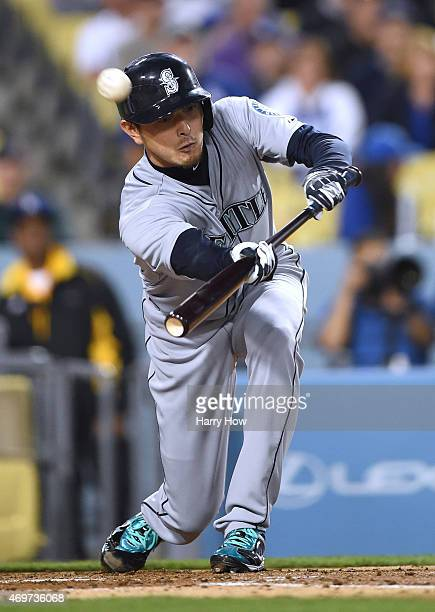 Hisashi Iwakuma of the Seattle Mariners fouls off a pitch during the second inning against the Los Angeles Dodgers at Dodger Stadium on April 14 2015...