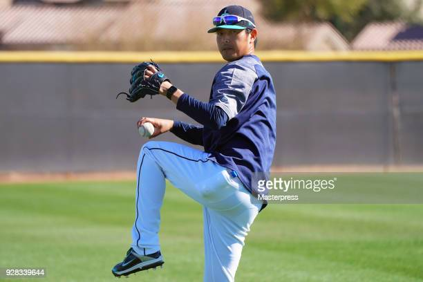 Hisashi Iwakuma of the Seattle Mariners in action during spring training on March 6 2018 in Peoria Arizona
