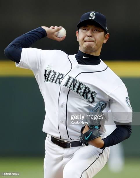 Hisashi Iwakuma of the Seattle Mariners pitches against the Los Angeles Angels in this file photo taken in Seattle on May 3 2017 Iwakuma who has...