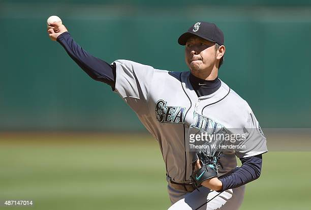 Hisashi Iwakuma of the Seattle Mariners pitches against the Oakland Athletics in the bottom of the first inning at Oco Coliseum on September 6 2015...
