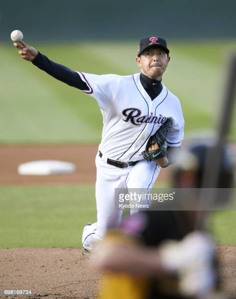 Hisashi Iwakuma of the Seattle Mariners pitches for TripleA Tacoma against Salt Lake in his second rehab start on June 19 2017 in Tacoma Washington...