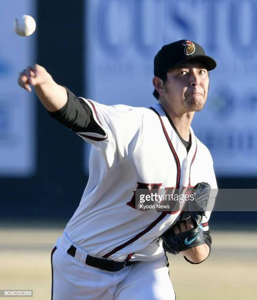 Hisashi Iwakuma of the Seattle Mariners pitches in a minor league game in a rehab start in Modesto California on June 14 2017 The club said on July 4...