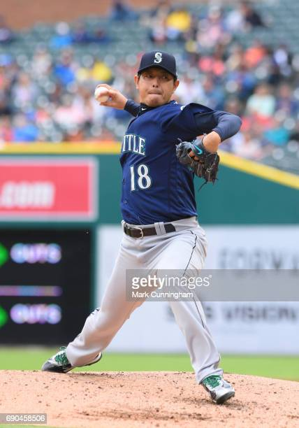 Hisashi Iwakuma of the Seattle Mariners pitches in the fourth inning of the game against the Detroit Tigers at Comerica Park on April 27 2017 in...