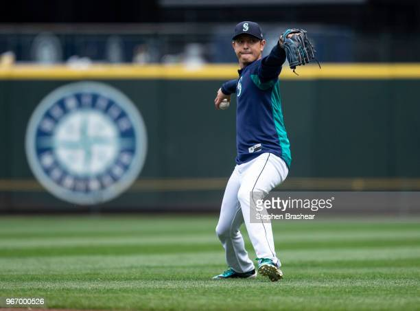 Hisashi Iwakuma of the Seattle Mariners throws a ball around before a game against the Tampa Bay Rays at Safeco Field on June 3 2018 in Seattle...