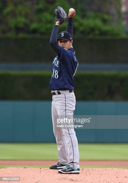 Hisashi Iwakuma of the Seattle Mariners throws a warmup pitch in the first inning of the game against the Detroit Tigers at Comerica Park on April 27...