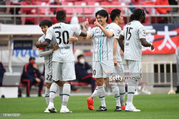 Hisashi Jogo of Avispa Fukuoka celebretes their first goal during the J.League YBC Levain Cup Group A match between Kashima Antlers and Avispa...