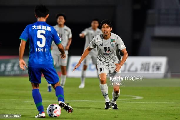 Hisashi JOGO of Avispa Fukuoka in action during the J.League Meiji Yasuda J2 match between Tokushima Vortis and Avispa Fukuoka at Pocari Sweat...