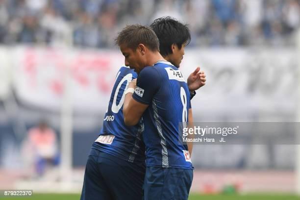 Hisashi Jogo of Avispa Fukuoka is brought in for Riki Matsuda during the JLeague J1 Promotion PlayOff semi final match between Avispa Fukuoka and...