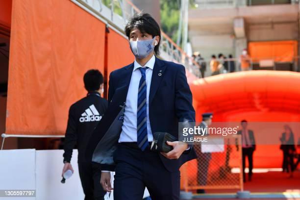 Hisashi JOGO of Avispa Fukuoka is seen on arrival at the stadium prior to the J.League Meiji Yasuda J1 match between Shimizu S-Pulse and Avispa...