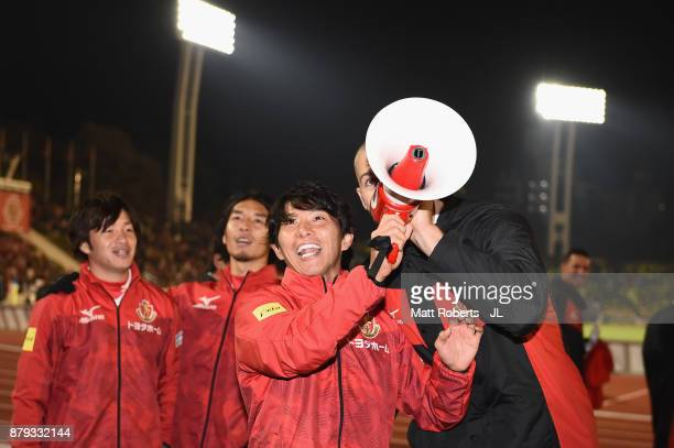 Hisato Sato of Nagoya Grampus appluads supporters after his side's 42 victory in the JLeague J1 Promotion PlayOff semi final match between Nagoya...