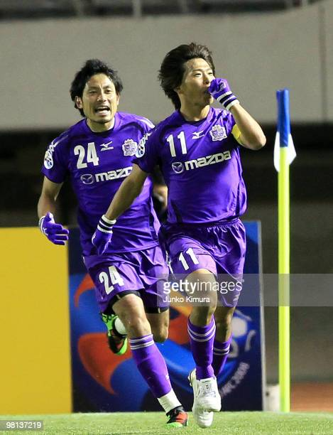Hisato Sato of Sanfrecce Hiroshima celebrates after scoring a goal during the AFC Champions League Group H match between Sanfrecce Hiroshima and...