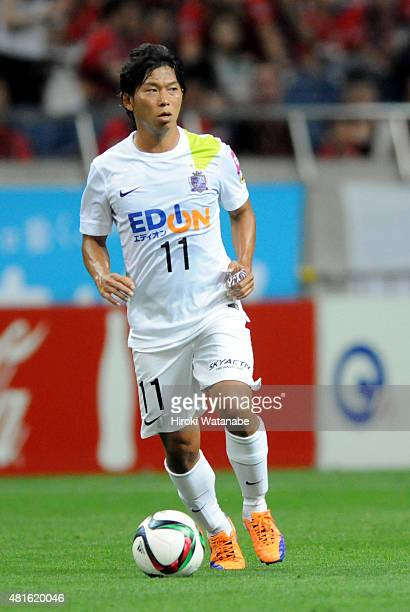 Hisato Sato of Sanfrecce Hiroshima in action during the J.League match between Urawa Red Diamonds and Sanfrecce Hiroshima at Saitama Stadium on July...