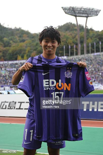 Hisato Sato of Sanfrecce Hiroshima poses after the J League match between Sanfrecce Hiroshima and Shonan Bellmare at the Edion Stadium Hiroshima on...