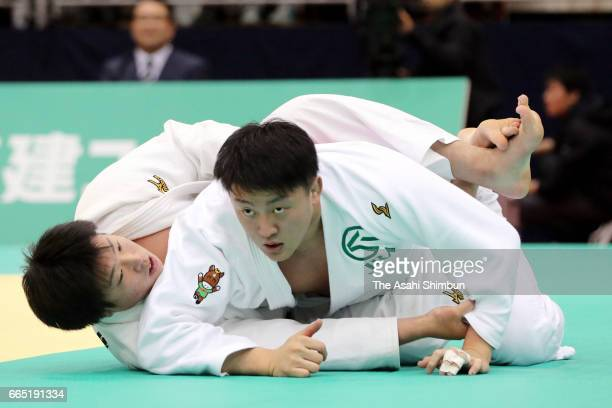 Hisayoshi Harasawa and Kokoro Kageura compete in the Men's 100kg semifinal during day two of the All Japan Invitational Judo Championships By Weight...