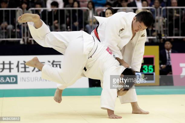 Hisayoshi Harasawa competes against Kokoro Kageura in the Men's 100kg semifinal match on day two of the All Japan Judo Championships by Weight...