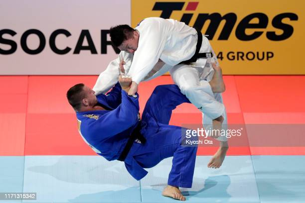 Hisayoshi Harasawa of Japan and Lukas Krpalek of the Czech Republic compete in the Men's 100kg final on day seven of the World Judo Championships at...
