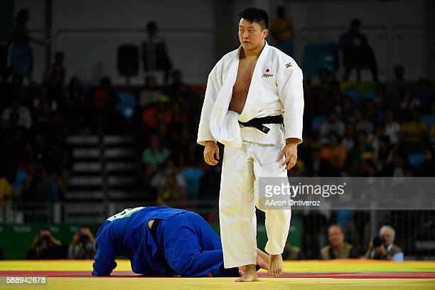 Hisayoshi Harasawa of Japan defeats Abdullo Tangriev of Uzbekistan during men's over 100kg judo action at Rio 2016 on Friday August 12 2016