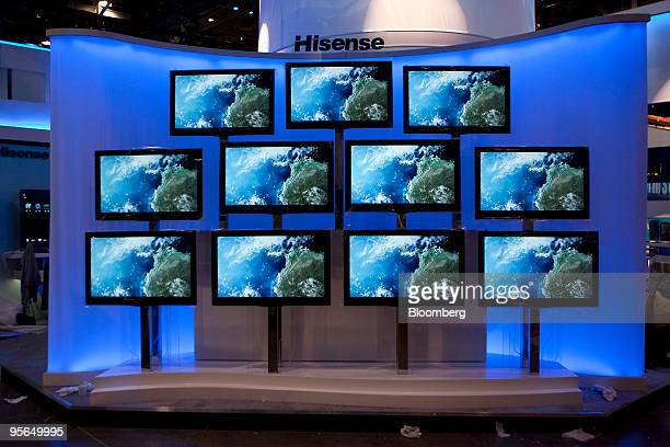 Hisense Electric Co Ltd televisions sit on display during the 2010 International Consumer Electronics Show in Las Vegas Nevada US on Wednesday Jan 6...