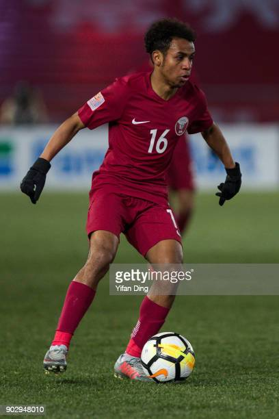 Hisham Ali of Qatar in action during the AFC U23 Championship Group A match between Qatar and Uzbekistan at Changzhou Olympic Sports Stadium on...