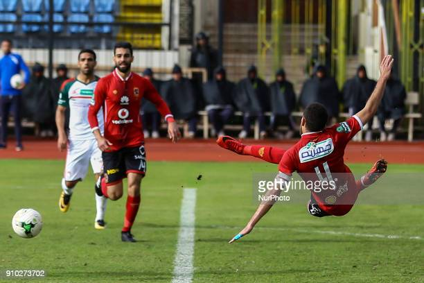 Hisham Mohamed of Alahly shot on goal during the Egypt Primer League Fixtures 20 Match Between AlAhly and AlRajaa in Alexandria Stadium on 25 January...
