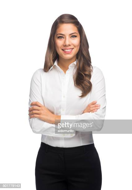 Hispanic business woman with arms crossed