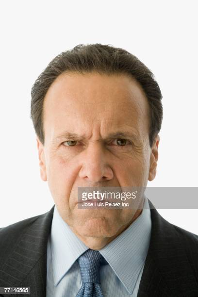 Hispanic businessman looking angry