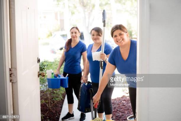 Hispanic cleaning ladies