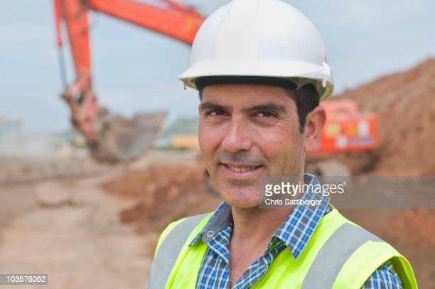 Hispanic construction worker on construction site