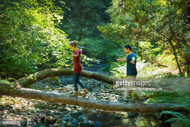 hispanic couple balancing on log in forest - muir woods stock photos and pictures