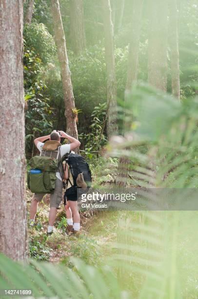 Hispanic couple hiking together