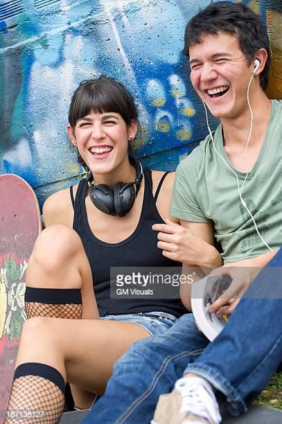 Hispanic couple relaxing together