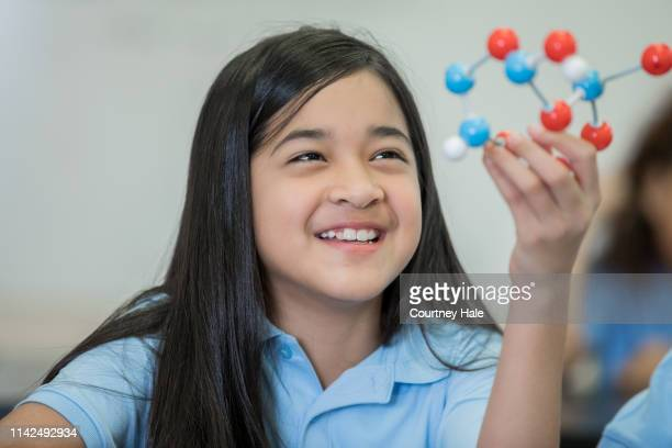 hispanic ethnicity junior high school girl enjoying stem science class and examining a molecule mode - junior girl models stock pictures, royalty-free photos & images
