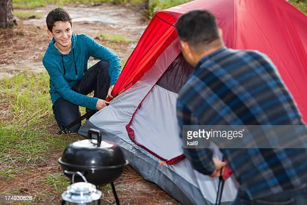 hispanic father and son, camping - pitcher bildbanksfoton och bilder
