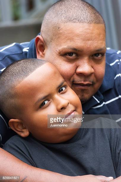 Hispanic father and son