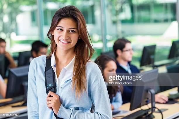 Hispanic girl attending private college prep school computer class