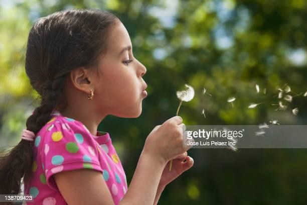 Hispanic girl blowing dandelion seeds