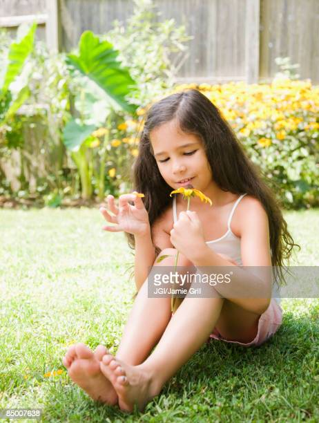 hispanic girl picking petals off flower - 修眉 個照片及圖片檔