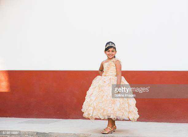 hispanic girl posing in ornate gown and tiara - beauty contest stock pictures, royalty-free photos & images