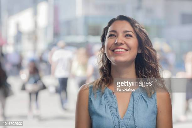 hispanic girl street portrait - head back stock pictures, royalty-free photos & images