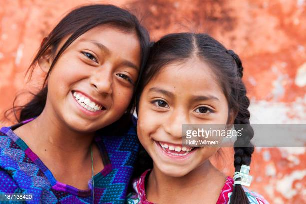 hispanic girls smiling - mayan people stock photos and pictures