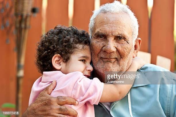 Hispanic grandfather with his grandson