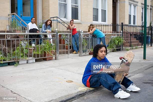 Hispanic kids killing time