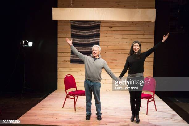 hispanic man and woman holding hands on theater stage - theatrical performance photos et images de collection