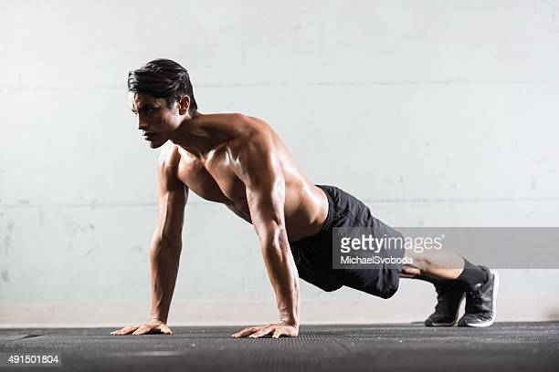 Hispanic Man Doing Push Ups