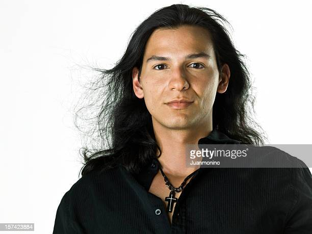 hispanic or native american male model - black hair stock pictures, royalty-free photos & images