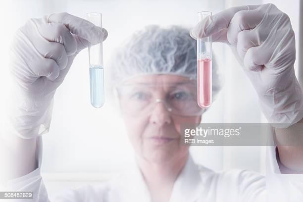 Hispanic scientist examining test tubes in lab