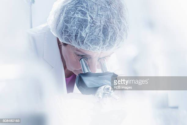 Hispanic scientist using microscope in lab