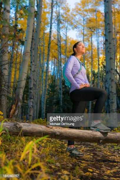 Hispanic woman hiking in woods